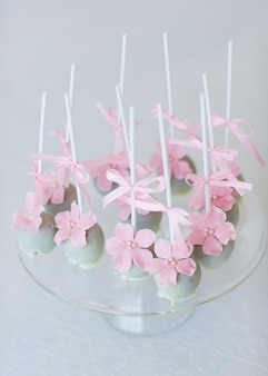 Cake pops on glass