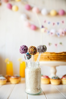Cake pops on the holiday table.