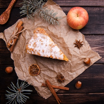 Cake slice with cinnamon and apple