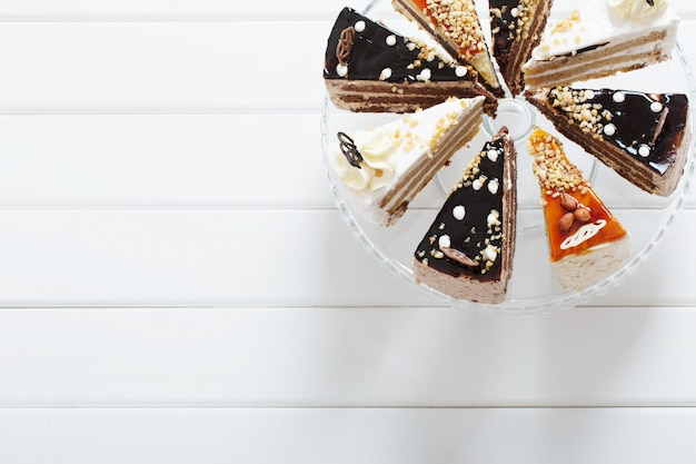 Cake on white wooden background