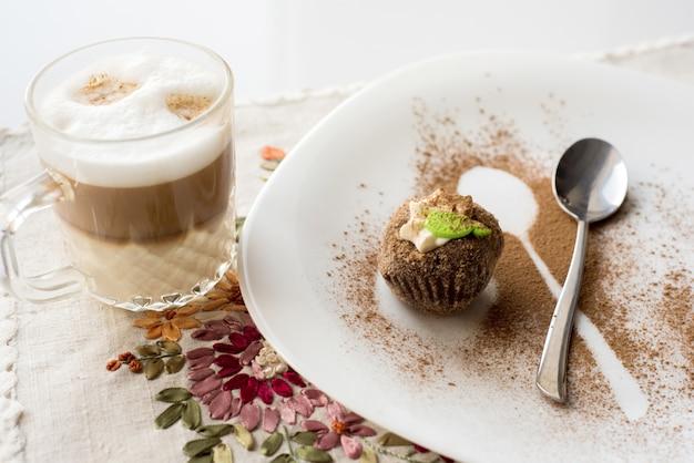 A cake with cinnamon. cappuccino
