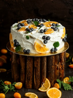 Cake with cream blueberry and lemon