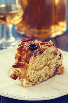 Cake with dry fruits and wine