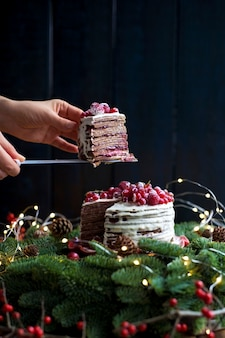 Cake with red berries in hands near the christmas tree