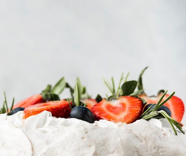 Cake with strawberries close-up