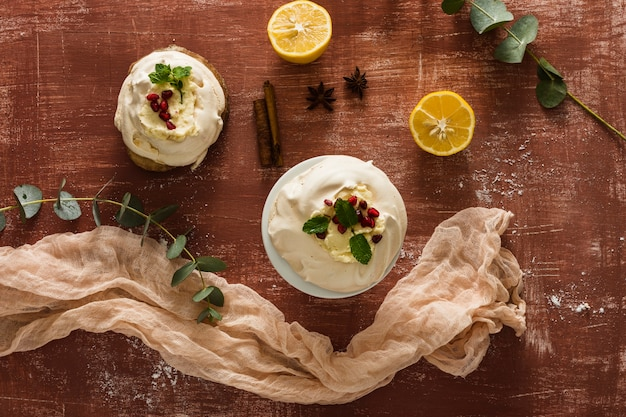 Cake with whipped cream and lemon