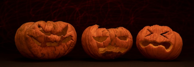 Calabazas talladas para halloween con fondo de color negro