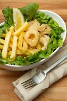 Calamari fried with potate