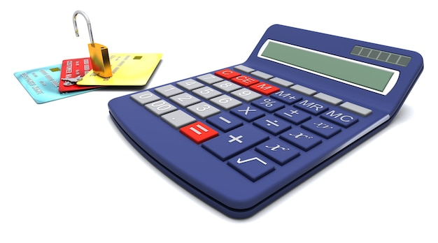 電卓とクレジットカード、安全な購入の概念