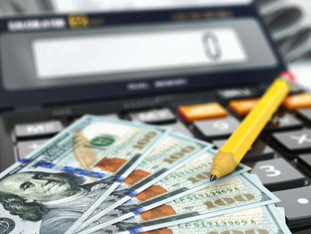Калькулятор и доллары. финансовая или банковская концепция. 3d