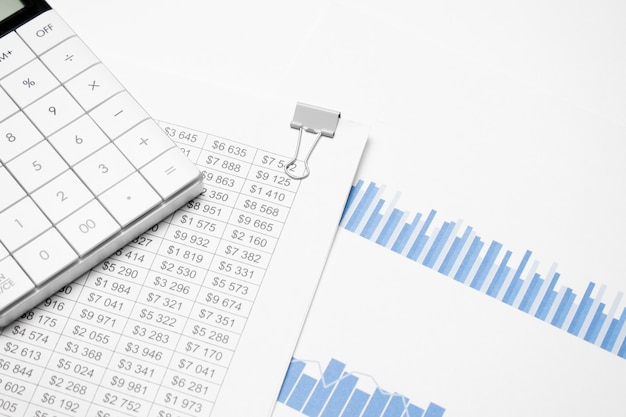 Calculator and financial documents on the white background