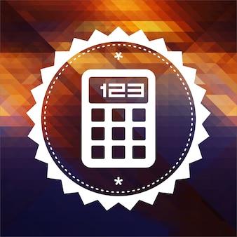 Значок калькулятора. дизайн ретро этикетки. битник фон из треугольников, эффект цветового потока.