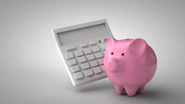 Calculator and piggy bank.