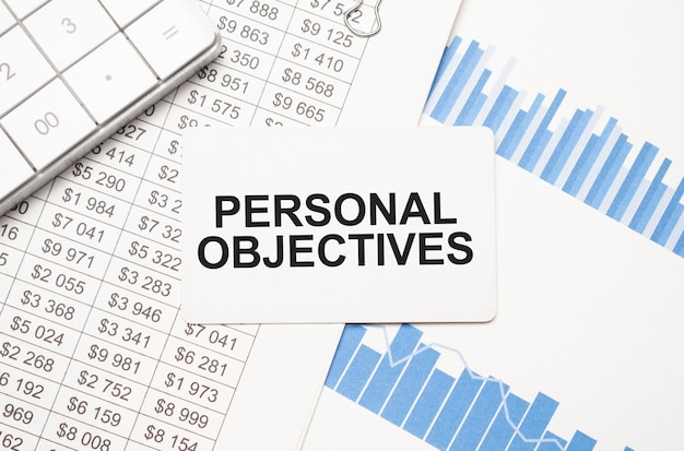 Calculator,reports and card with text personal objectives
