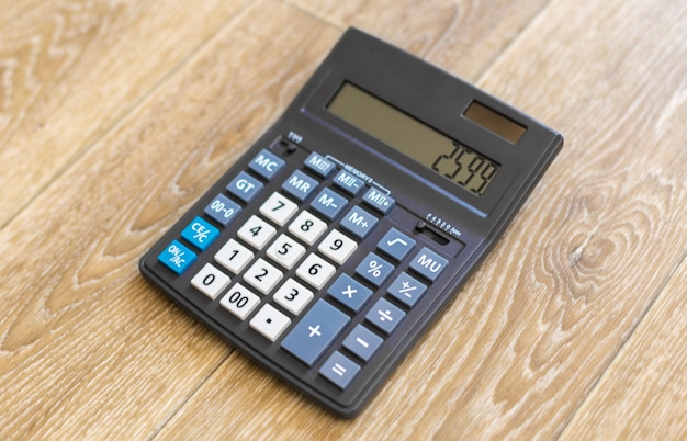 Calculator on the table. top view