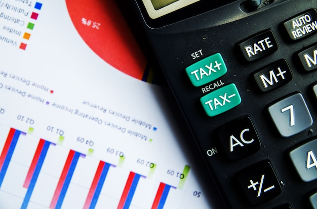 Calculator and tax button on report of business paper