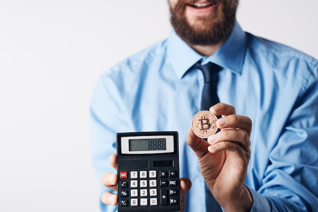 Calculator with cryptocurrency bitcoin finance economy investment