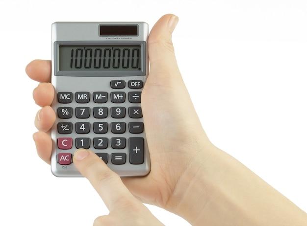 白で隔離の手と電卓