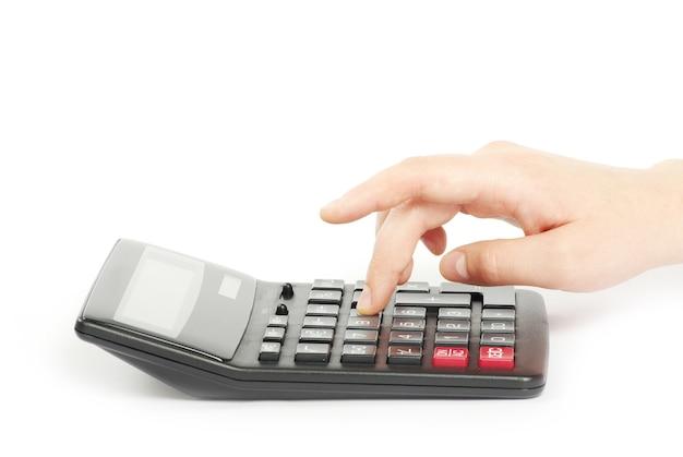 Калькулятор с рукой, изолированные на белом фоне