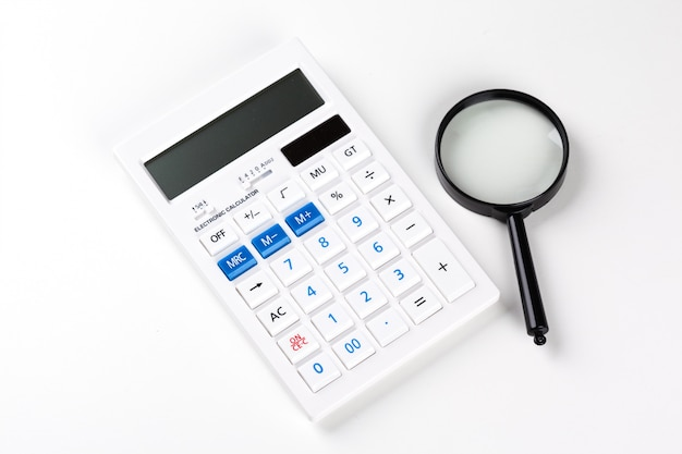 Calculator with a magnifying glass