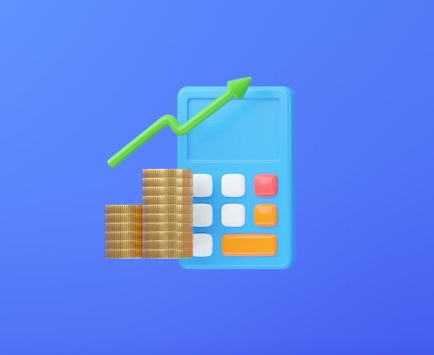 お金のスタックと矢印を備えた電卓ビジネスとお金の投資の概念