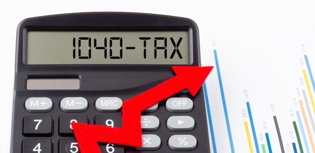 Калькулятор с красной восходящей стрелкой и текстом