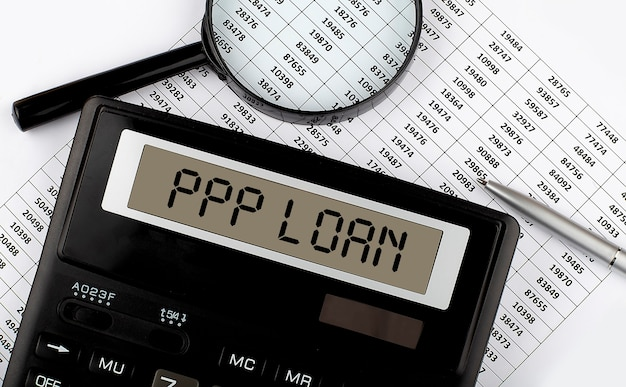 Calculator with text ppp loan on the chart
