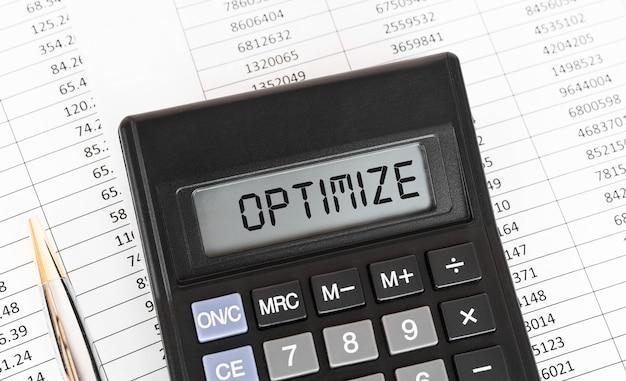 ディスプレイにoptimizeという単語が表示された電卓。
