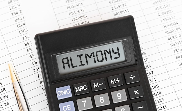 Calculator with the word alimony on the display.