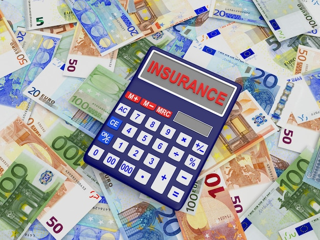 Calculator with the word insurance on euro banknotes. 3d