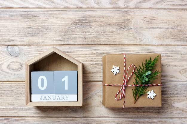 Calendar 1 january with date and gift boxes