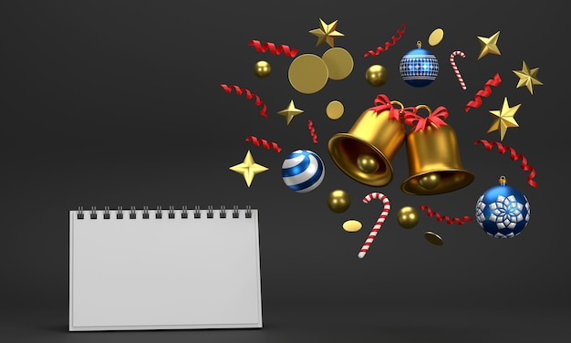 Calendar on festive celebrations for christmas and new year party christmas balls ribbons gift boxes