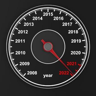 Календарь со спидометра на черном фоне. 3d иллюстрации