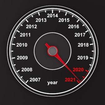 黒の背景にスピードメーターからのカレンダー。 3dイラスト