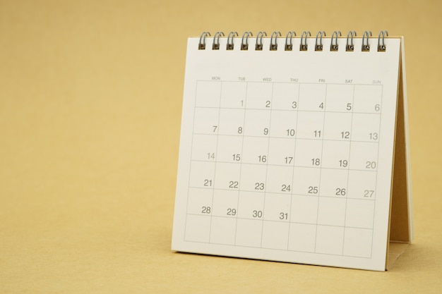 A calendar of the month. planning concept with copy spaces