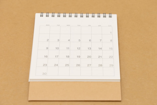 A calendar of the month.