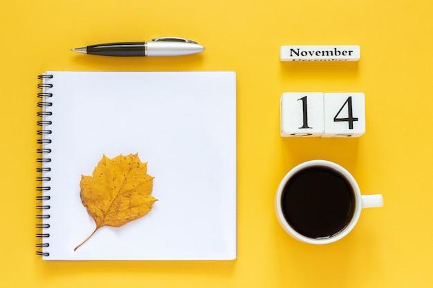 Calendar november 14, flat lay