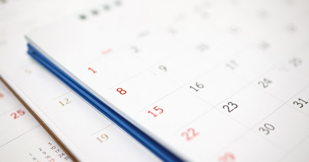 Calendar page close up business planning concept