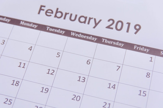 Calendar page february 2019 background