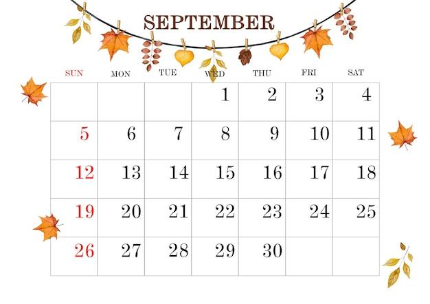 9月のカレンダーページ。クローズアップ、上面図。無人