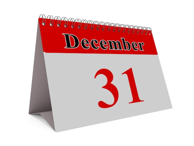 12 월 달의 달력 페이지 연말 개념
