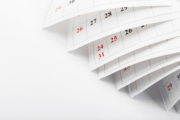 Calendar pages close up business time concept