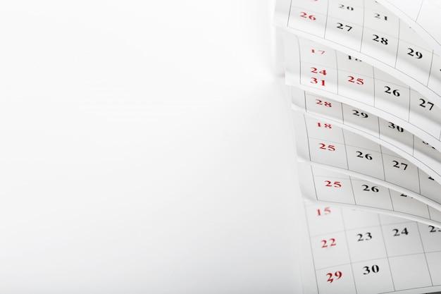 Calendar pages close up business time concept