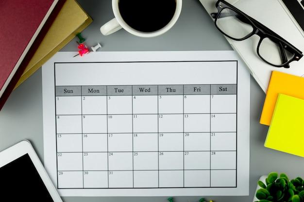 Calendar plan doing business or activities  monthly.