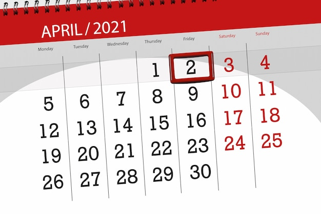 2021年4月の月のカレンダープランナー、締め切り日、2、金曜日。
