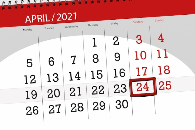 2021年4月の月のカレンダープランナー、締め切り日、24、土曜日。