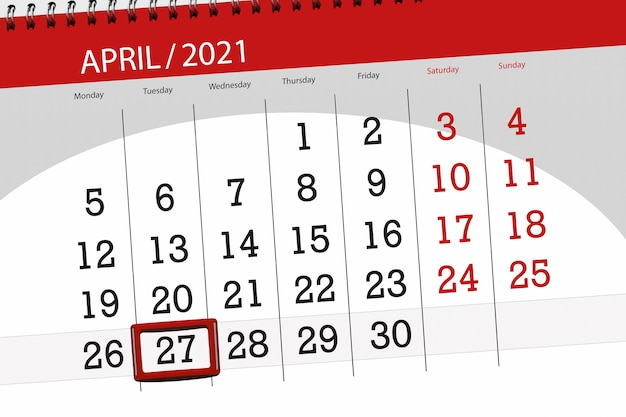 2021年4月の月のカレンダープランナー、締め切り日、27、火曜日。
