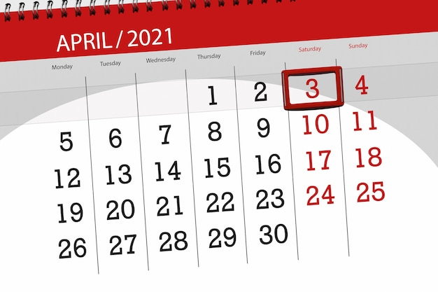 2021年4月の月のカレンダープランナー、締め切り日、3、土曜日。