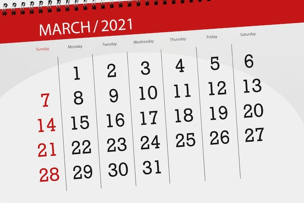Календарь-планировщик на март 2021 месяц, крайний день.