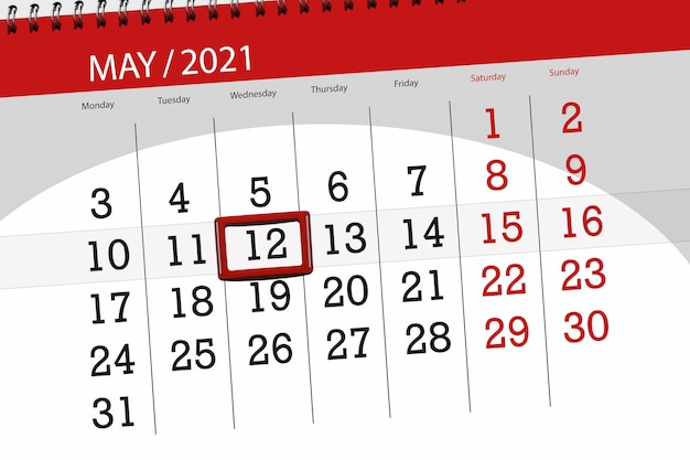 その月のカレンダープランナーは2021年5月、締め切り日、12日、水曜日です。